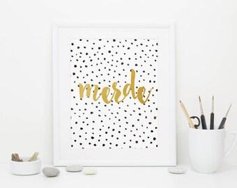Merde, Gold Foil,  Demotivational Poster, Digital Download