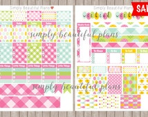 SALE! Erin Condren Printable Stickers, Easter, Pink, Green, Blue, printable planner stickers, checklist, Weekly set, PDF - Instant Download