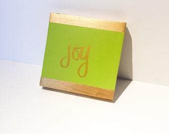 Joy. Acrylic Painting on Wood Panel. Inspiration. Green. Gold. 6x6.