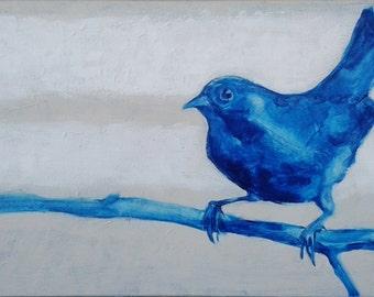 """painting:""""Blue bird""""  40x80cm"""