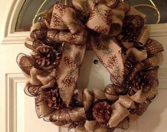 Burlap Pinecone Wreath