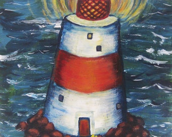Original Poster-Style Acrylic Painting - Lighthouse