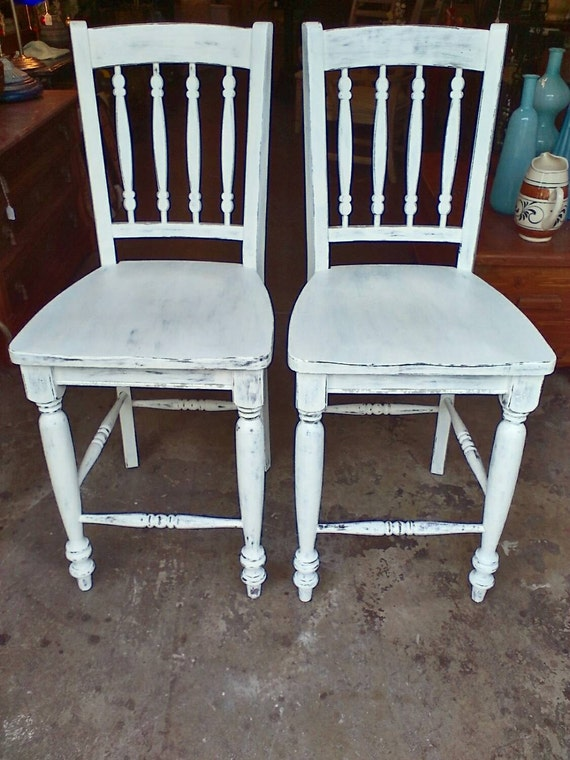 Country Style Shabby Chic White Bar Stools Chairs