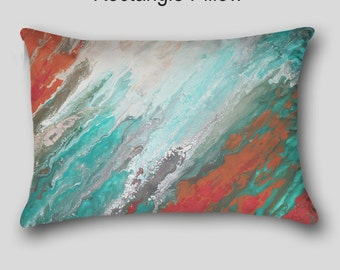 Decorative throw pillow, Designer, Teal aqua coral gray, Abstract art, Accent pillow, Home decor, Cover Case, Upscale Sofa cushion, Couch
