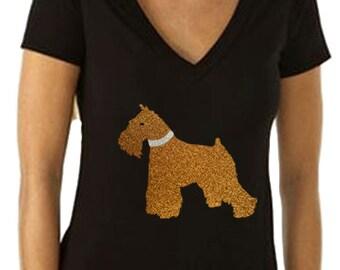 Gold Glitter Schnauzer Dog