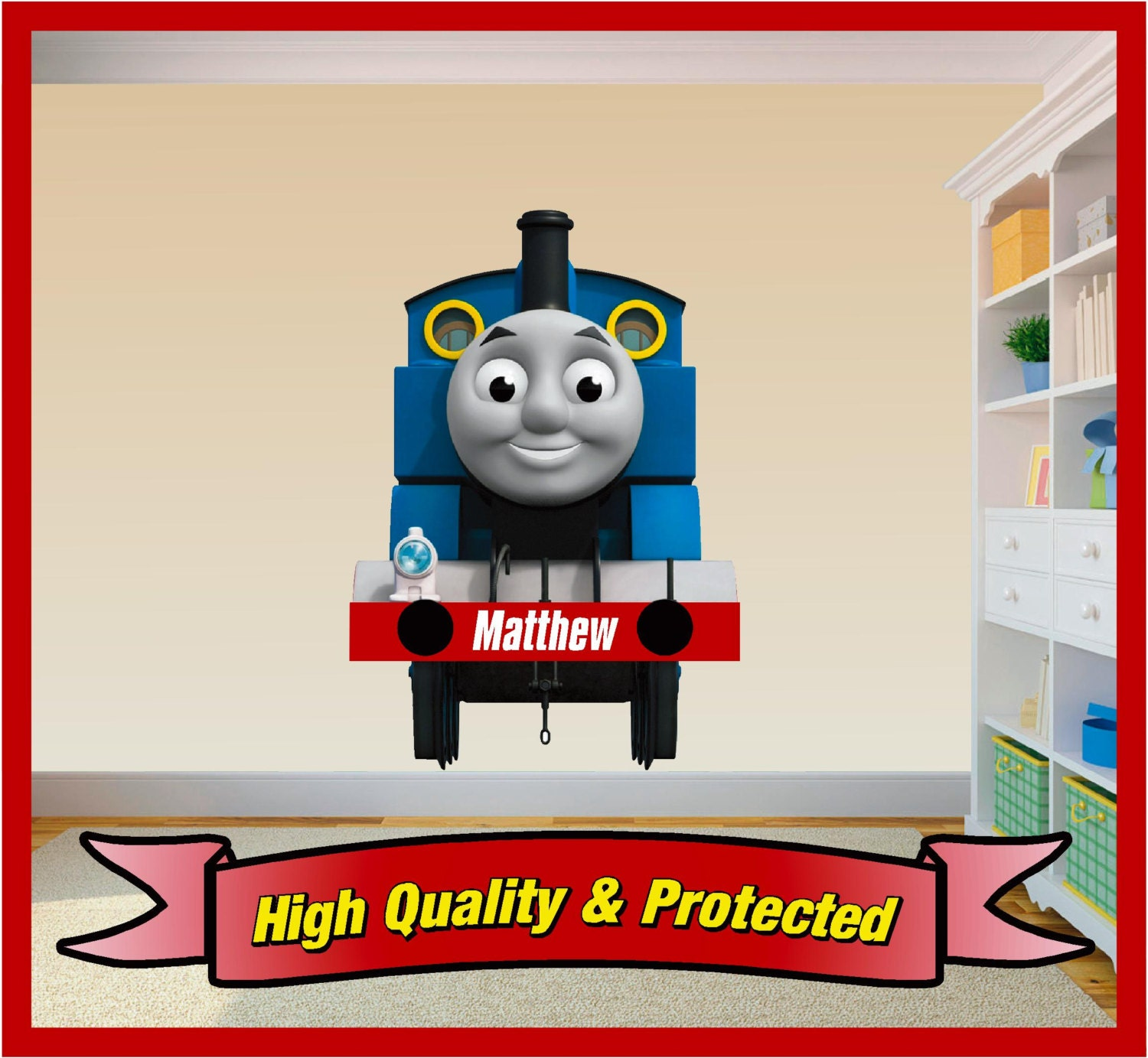 thomas the tank engine personalised wall art sticker decal. Black Bedroom Furniture Sets. Home Design Ideas