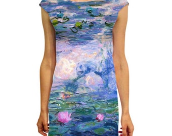 "Women's female full printed dress  ""Lilies"" by Claude Monet"