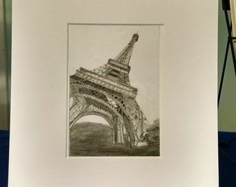 Eiffel Tower print 5x7 matted to 11x14
