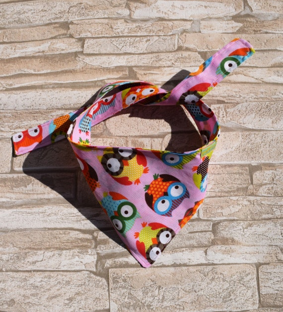 "Tie on Bandana ""Funny Owls on Pink"" reversible Bandanas for small or medium sized dogs cats"