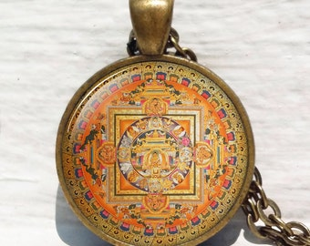 Old Tibetan Buddhist Mandala pendant, Tibetan Mandala, Spiritual necklace, Buddhist mandala, Buddhist necklace, necklace for me