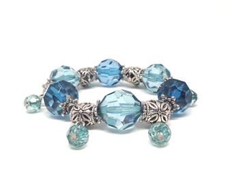 Gorgeous Estate Style Silver Tone Chunky Blue Crystal Beaded Stretch Bracelet