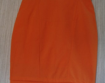 MOUCHE Vintage 70's ORANGE WOOL High Waist Pencil  Mini Skirt Size:10