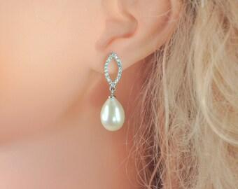 11-12mm Freshwater pearl dangle drop Earrings Sterling Silver w/ CZ bridal gift