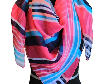 Stripes pattern multicolored scarf,Chiffon scarf,Colorful scarf,Summer scarf,Soft fabric scarf,infinity scarf,Lines scarf