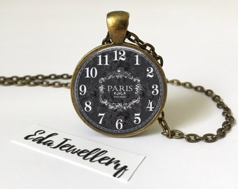 Parisian Vintage Clock Pendant, Grey and White Necklace