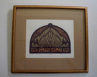 Vintage Yehudit Shadur Judaica Silkscreen Print Art Serigraph