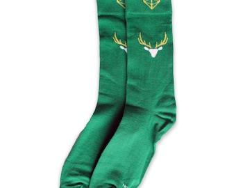 Men's Green Buck Head Socks