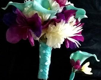 Teal+Purple+Ivory Bouquet & Boutonniere set