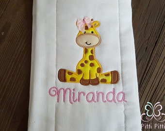 Baby Girl / Boy  Personalized Burp Cloth  or bib with baby Giraffe - Appliqued Giraffe Burp cloth or bib