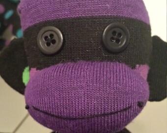 Purple and Green Polka-dot Sock Monkey