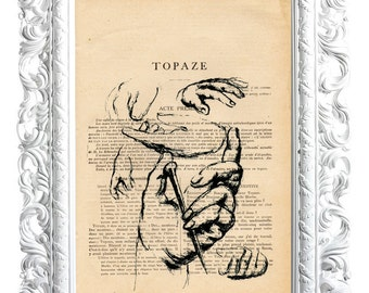 Hands, No. 5. Print on French publication of the illustration. 28x19cm.