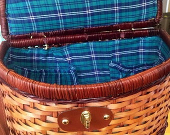 Vintage Woven Picnic Basket with Leather Strap Plaid Interior