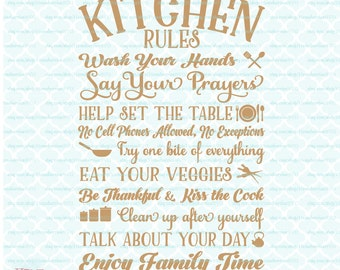 High Quality Kitchen Rules Sign Enjoy Family Time Quote Kiss The Cook Svg Dxf Eps Jpg Ai  Files