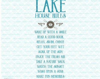 Lake House Rules svg Family Summer Vacation sign svg Lake Life svg dxf eps jpg files for Cricut, Silhouette and similar cutting machines