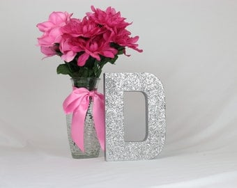 Silver Glittered Letters, 8 inch Self Standing, Bridal Shower/Baby Shower/Home Decor/Party Decor/Photo Props/Paper Mache