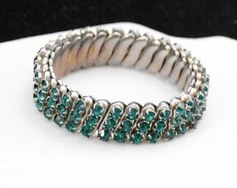 Rhinestone Bracelet, Stretch Bracelet, Rhinestone Band Bracelet, Emerald Green Bracelet       J1145