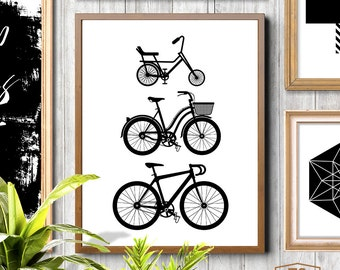Family art, black and white, family sign, bicycle art, bicycle wall art, adventure art, sports decor, outdoor decor, sports bike art