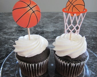 Cupcake toppers, party supplies, sports theme, basketball, high school, college, NBA