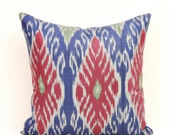 Red Blue ikat Pillow, Ikat pillow, Ikat Pillows, Cotton Cushion, Designer pillow, Decorative Pillow, Couch,Ikat Sofa pillow, Red Blue Pillow