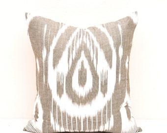 Dark Tan Decorative Pillow Cover - Tan Throw Pillow Cover - Decorative Pillow - Ikat Pillow - Accent Pillow - Pillow Cover- Nursery pillow