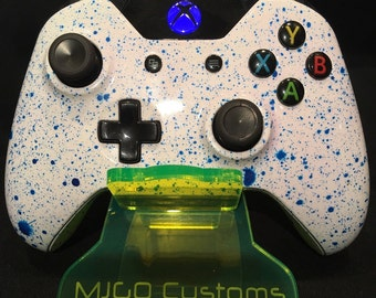 Brand new Xbox one Controller custom painted in White with blue spalsh effect plus LED Mod.