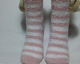 bear head  socks, bears, socks, non-slip sole socks teddy bears, soft stockings