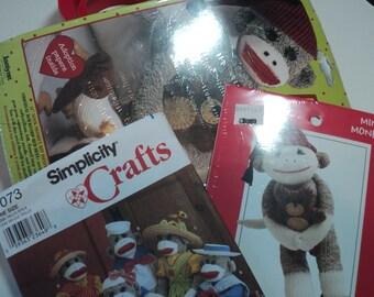 Sock Monkey 2 kits and pattern to make mini and 21 inch sock monkey plus a pattern