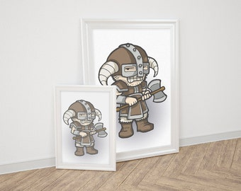 Printed cartoonish illustration of a Nordic warrior, comedy/cosplay inspired.