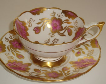 Royal Stafford Fuchsia Florals with Heavy Gold Cup and Saucer