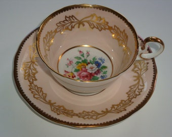 Aynsley Peach Gold and Floral Cup and Saucer