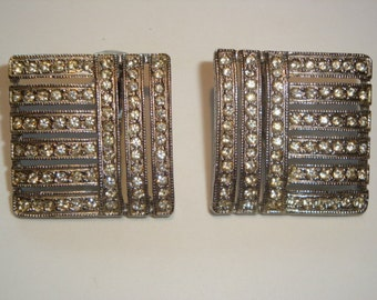 Elegant Multi Rhinestone Clip Earrings