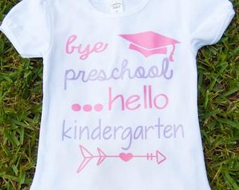 Bye Preschool Hello Kindergarten - girls pre-k graduation fitted ruffle sleeve shirt