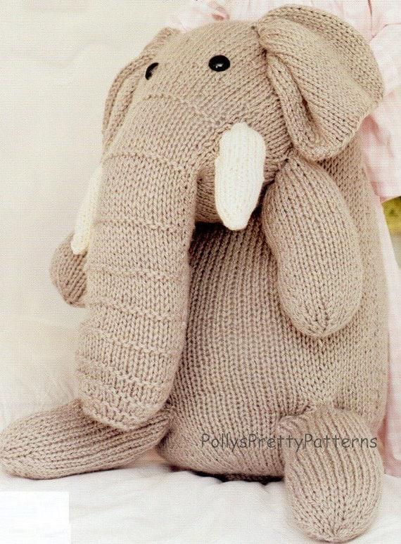 Knitting Pattern Elephant Toy : PDF Knitting Pattern for Huge Giant Elephant Toy Instant