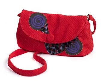 Handbag red patchwork
