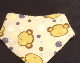 Monkey Baby Bandanna Bib With Terrycloth Backing