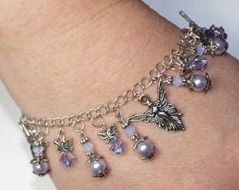 Fairy Angel Swarovski Crystal Bracelet - Light Purple