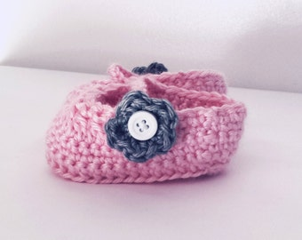 Crocheted Baby Girl Mary Jane Sandals