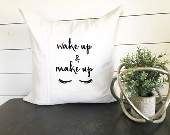 wake up and make up pillow cover teen pillow cover teen decor decorative - Teen Decor