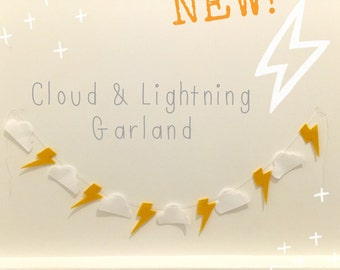 White cloud & yellow lightning bolt felt garland | 64cm | Wall hanging | kids room | nursery | boys room | monochrome