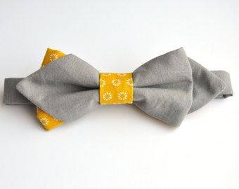 Bow tie in tip, cotton grey/yellow print Sun, tie and adjustable